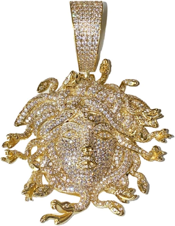 Iced Miami Cuban Chain Necklace Choker Chain 12mm 20 inches long, 14k Gold Finish Cuban Choker, Greek God Medusa Head Pendant, Medusa Charm, Iced Chain Pendant Necklace