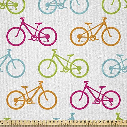 ABAKUHAUS Bicicleta Tela por Metro, Bicicletas De Colores Diferentes, Microfibra Decorativa para Artes y Manualidades, 1M (230x100cm), Multicolor