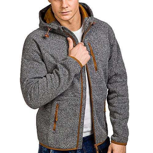 Xmiral Herren Pullover Mantel Herbst Winter Casual Reißverschluss Langarm Hooded Sweatshirt (L,Grau)