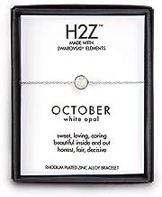 "Pavilion Gift Company H2Z 16158 October White Opal Adjustable Birthstone Bracelet, 7"""