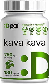 Deal Supplement Kava Kava (Piper methysticum ) Extract, 750mg, 180 Capsules, Stress & Anxiety Relief, Calm Mood, Support R...
