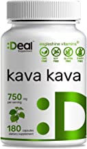 Deal Supplement Kava Kava (Piper methysticum ) Extract, 750mg, 180 Capsules, Stress & Anxiety Relief, Calm Mood, Support Restful Sleep and Pain Relief - 90 Days Supply