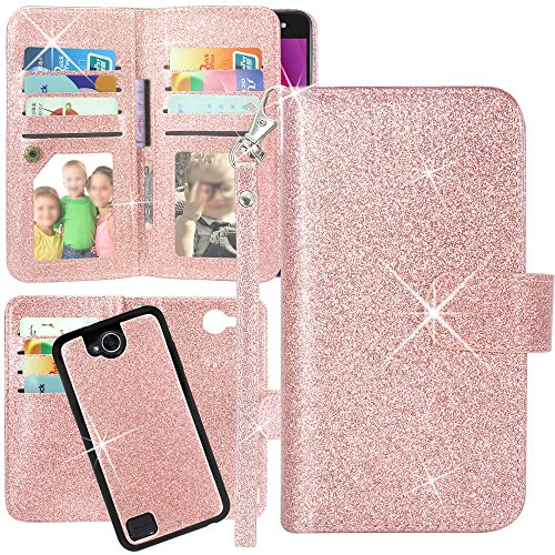 LG X Power 2 M320 Case, LG Fiesta LTE Case, Harryshell Luxury 12 Card Slots Detachable Magnetic Wallet Shockproof PU Leather Flip Protective Case Wrist Strap for LG Fiesta 2 / X Charge (Glitter Pink)