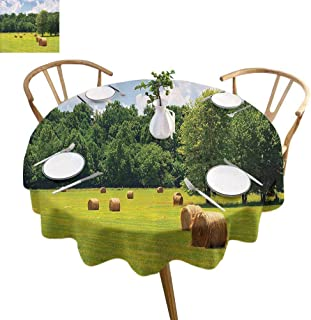 UETECH Printed Round Tablecloth Farmhouse Decor Collection Farmland After Harvest Peaceful Terrain Remote Rural Country Plantation Seasonal Image Green Buffet Table Holiday Dinner Picnic D54