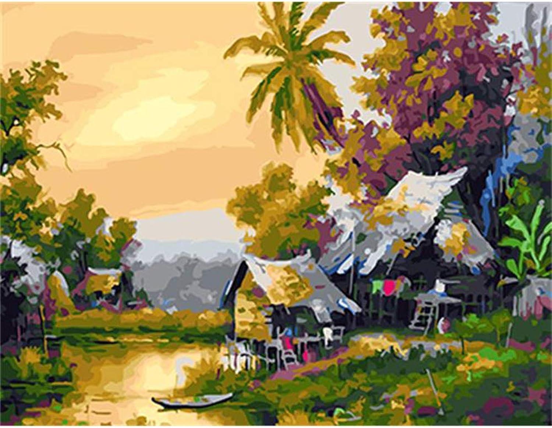 calidad de primera clase NGDDXTG Pintura de Paisaje Paisaje Paisaje por números Pintura y caligrafía DIY Oi Digital Pintura por números Decoración para el hogar  barato