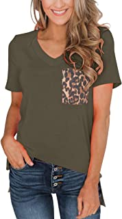 Minclouse Women's Leopard/Sequin Pocket Summer Tops Short Sleeves V Neck T Shirt Casual Basic Tees with Side Slits