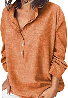 Xinantime Womens Loose Solid Blouse Casual Long Sleeve Button T Shirts Tank Tops Lapel Tunic