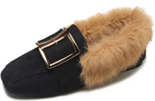 Women's Faux Fur Lined Suede Loafers Comfort Metal Accent Slip-on Moccasins