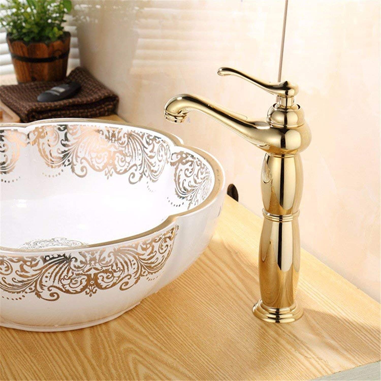 360° redating Faucet Retro Faucet Above Counter Basin Basin Heightening Hot and Cold High Standard gold Plating