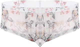 iixpin Men's Sheer Mesh Flower Printed Briefs Low Rise Hipster Bulge Pouch Panties Underwear