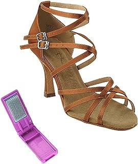 Very Fine Ballroom Latin Tango Salsa Dance Shoes for Women SERA5008 3-Inch Heel + Foldable Brush Bundle
