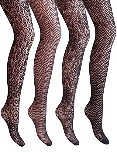 VERO MONTE 4 Styles Women Fishnet Tights Patterned Fishnets Stockings Small Hole - http://coolthings.us