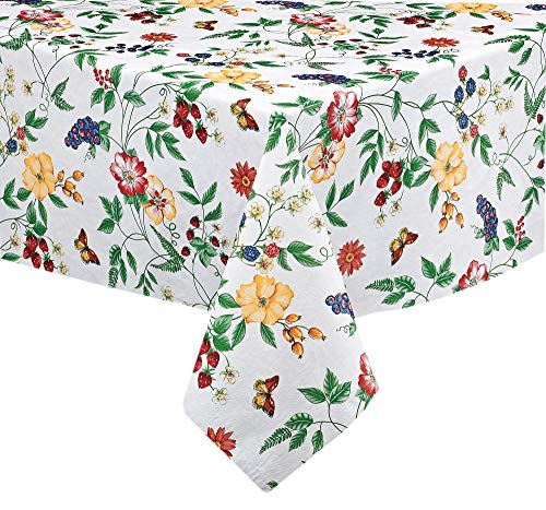 """English Berry Garden Heavy 4 Gauge Vinyl Flannel Backed Tablecloth, Strawberry Garden Floral Indoor/Outdoor Wipe Clean Picnic, Kitchen, Dining Room Tablecloth - 60"""" x 120"""" Oblong/Rectangle"""