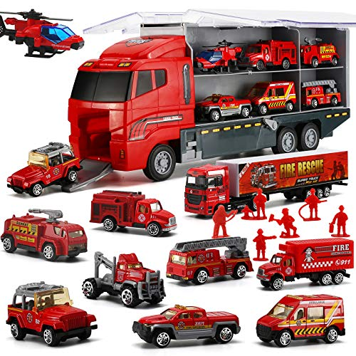 19 in 1 Fire Truck with Firefighter Toy Set, Mini Die-cast Fire Engine Car in Carrier Truck, Mini Rescue Emergency Double Side Transport Vehicle for Kid Child Boy Girl Birthday Christmas Party Favors