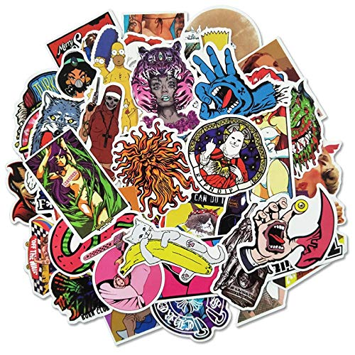 Ligoi 50pcs Tide Brand Luggage Graffiti Waterproof Personalized Stickers Laptop Tablet Dead Flying Guitar Skateboard Decorative Stickers