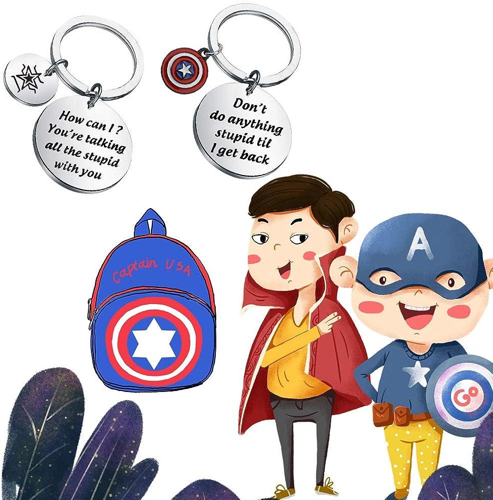 Funny Captain America Bucky Friendship Keychain Don/'t do anything stupid til I get back Marvel Comic Inspire Gift for BFF