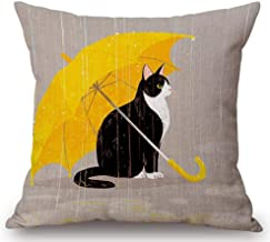 Cartoon Painted Lovely Animal Adorable Cat Hold Up an Yellow Umbrella Cotton Linen Decorative Throw Pillow Case Cushion Co...