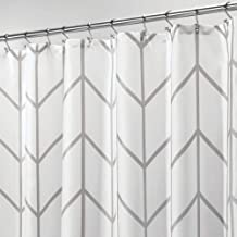 "mDesign Decorative Chevron Zig-Zag Print - Easy Care Fabric Hotel Quality Shower Curtain, Reinforced Buttonholes, for Bathroom Showers, Stalls, and Bathtubs, Machine Washable - 72"" x 72"" - Gray/White"