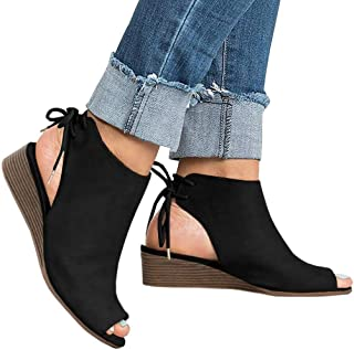 Womens Peep Toe Booties Cutout Chunky Stacked Heel Ankle Strap Wedge Heeled Sandals