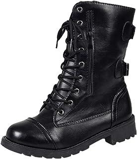 LHWY dames laarzen hak zwart, damesschoenen Roman veterschoenen platte schoenen winter outdoorschoenen vintage ritssluitin...