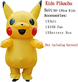 well-jump Inflatable Monster Costume Scary Green Alien Cosplay Costume Adult Halloween Party Festival Stage,Kids Pikachu,One Size,China