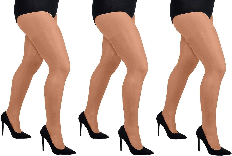 Women Plain Sheer 20 Den Lycra Pantyhose Aurellie PLUS SIZE packs of 3