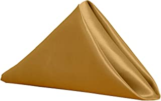 Your Chair Covers 20 Inch Satin Cloth Napkins (Pack of 10) (Gold)