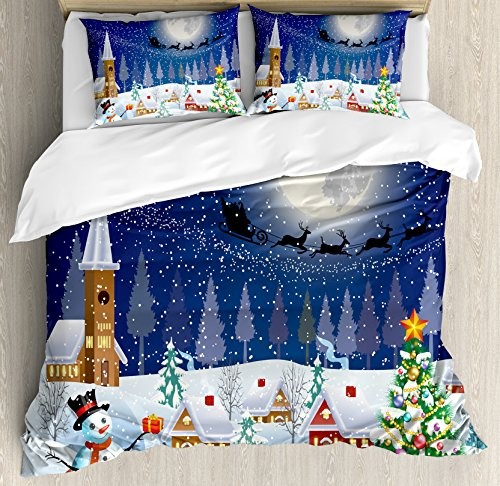 Ambesonne Christmas Decorations Duvet Cover Set, Winter Snowman Xmas Tree Santa Sleigh Church Moon Gifts Snow Stars, 3 Piece Bedding Set with Pillow Shams, King Size, Blue White