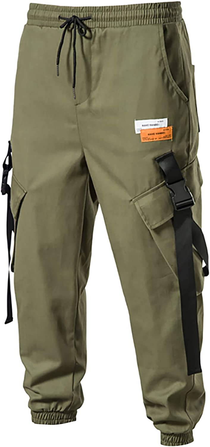 Tantisy Men's Drawstring Pocket Straight-Fit Pure Color Overalls Comfort Activities Trouser Tall Size Jogger Cargo Pant