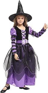 Costume Déguisement de Sorcière Fille - Robe de Déguisement Halloween avec Chapeau et Ceinture Enfant Carnaval Cosplay (7-...