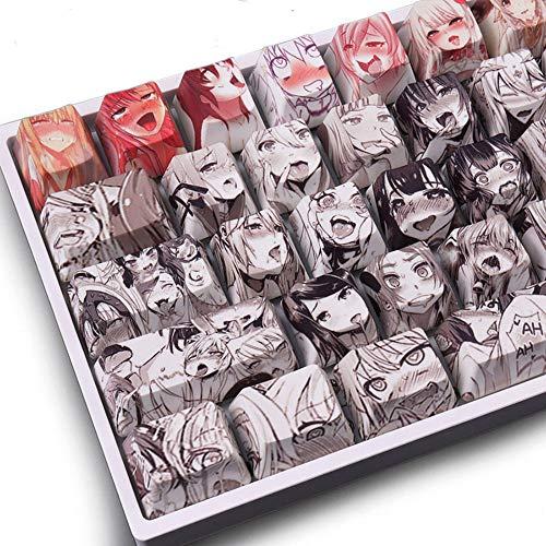Keycaps PBT Farbstoff-Sublimations-Upgrade 108 Tastenkappen-Set OEM Profil Japanische Anime Keycap Keyset mit Abzieher für Cherry Mx Gateron Kailh Switch mechanische Tastatur