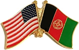 Pack of 3 National Country Flag & US Crossed Double Flag Lapel Pins, International & American Friendship Pin Badge (Afghanistan)