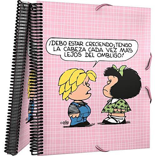 Grafoplás 39822412. Carpeta de 30 Fundas Transparentes, Mecanismo Espiral, Modelo Mafalda Belly Button, Cubiertas Polipropileno