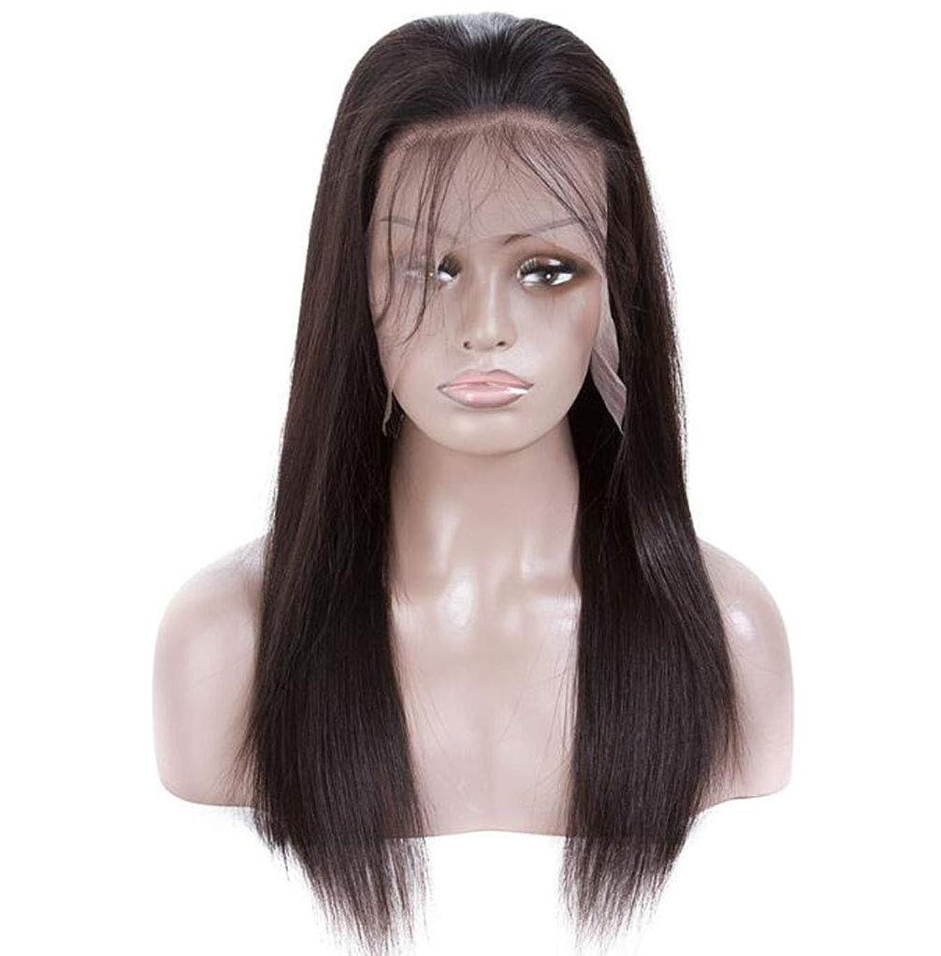 かつらストレート人毛ブラジルバージン130%密度ヘアピースヘアエクステンションわずかに赤ちゃんの髪黒人女性用ヘアラインナチュラルカラー黒かつら,12inch