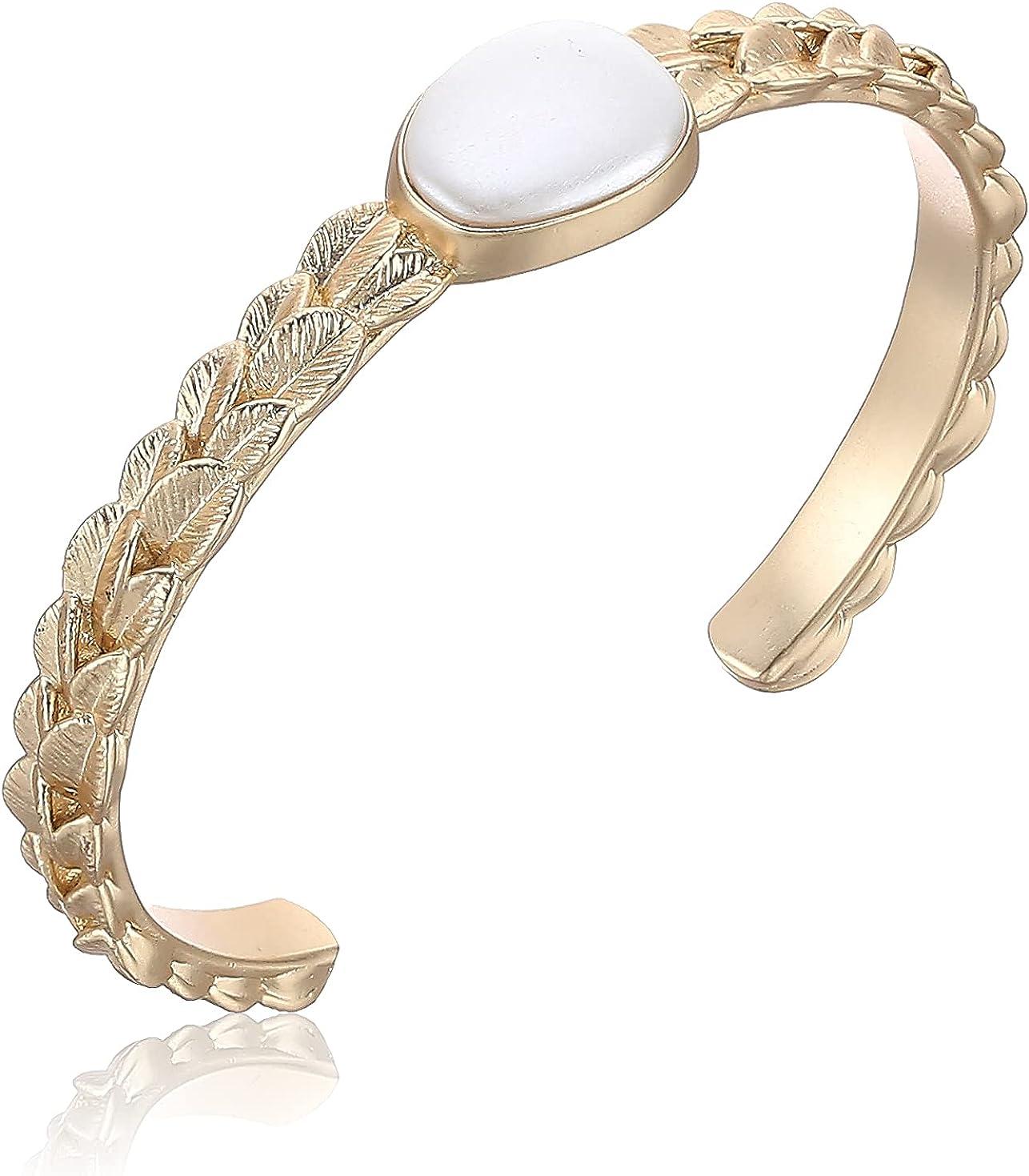 Lucky Brand Leafy Pearl Cuff Bracelet, Gold