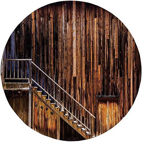 W-WEE Alfombra Redonda Tapete Alfombra, Oeste, Estructura de Cabina de Madera Escalera Old Western Gold Rush Town en Estados Unidos California, Brown Orangeoom