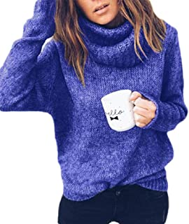 Macondoo Womens Long Sleeve Sexy Knitting Turtle-Neck Pullover Top Sweaters