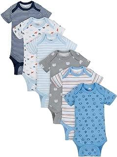 Wonder Nation Baby Boys Blue Short Sleeve Bodysuits, 6pk