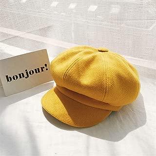SHENTIANWEI South Korean Female Winter hat, Ms. Benn Beret Painter Cap Vintage Woolen Octagonal Cap Autumn and Winter Korean Version = (Color : Yellow, Size : One Size)