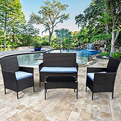 CRZDEAL 4 Pcs Outdoor Patio Furniture Sets Rattan Table & Chairs Set Patio Conservatory Wicker Garden Dining Furniture - ✔〖Strong and Sturdy〗: CRZDEAL rattan garden furniture is made with a powder-coated steel frame and all-weather PE rattan wicker for a comfortable experience. The wicker of the Outdoor furniture set is sturdy but also very light. Ideal for outdoor, gardens, balcony, conservatories and entertaining spaces. Enjoying your leisure afternoon tea time. ✔〖Excellent for Low Maintenance and Comfortable〗: 5mm thick tempered safety glass table top, all showerproof cushions covers are machine washable & removable. The seat cushions provide extraordinary comfort while relaxing in your leisure time. ✔〖EASY ASSEMBLY〗: This Outdoor Furniture Set Comes With All Hardware & Necessary Tools. Follow The Instruction, You Can Easily And Quickly Assemble The Patio Sofa Set.NOTE: When you try to install the Patio Furniture Set, try to line the hole together in all side, do not over tight one hole, then try to tight it slowly in each side. - patio-furniture, patio, conversation-sets - 61bxxeIe TL. SS400  -