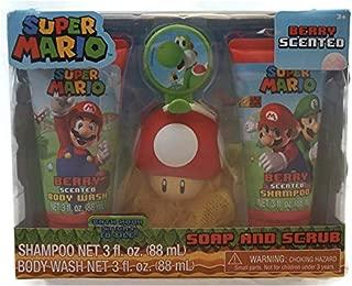 Super Mario Children's Bath Gift Set - Shampoo, Body Wash, Bath Scrubby & Hook