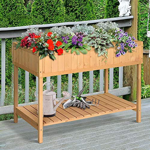 Outsunny Wooden Herb Planter Raised Bed Container Garden Plant Stand Bed 8 Boxes 110 L x 46W x 76Hcm