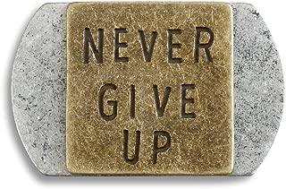 Demdaco Never Give Up 2 x 1.5 Inch Metal Pocket Token