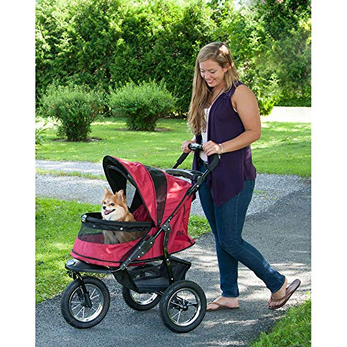 Pet Gear No-Zip Jogger Pet Stroller for Cats/Dogs, Zipperless Entry, Easy One-Hand Fold, Air Tires, Cup Holder + Storage Basket