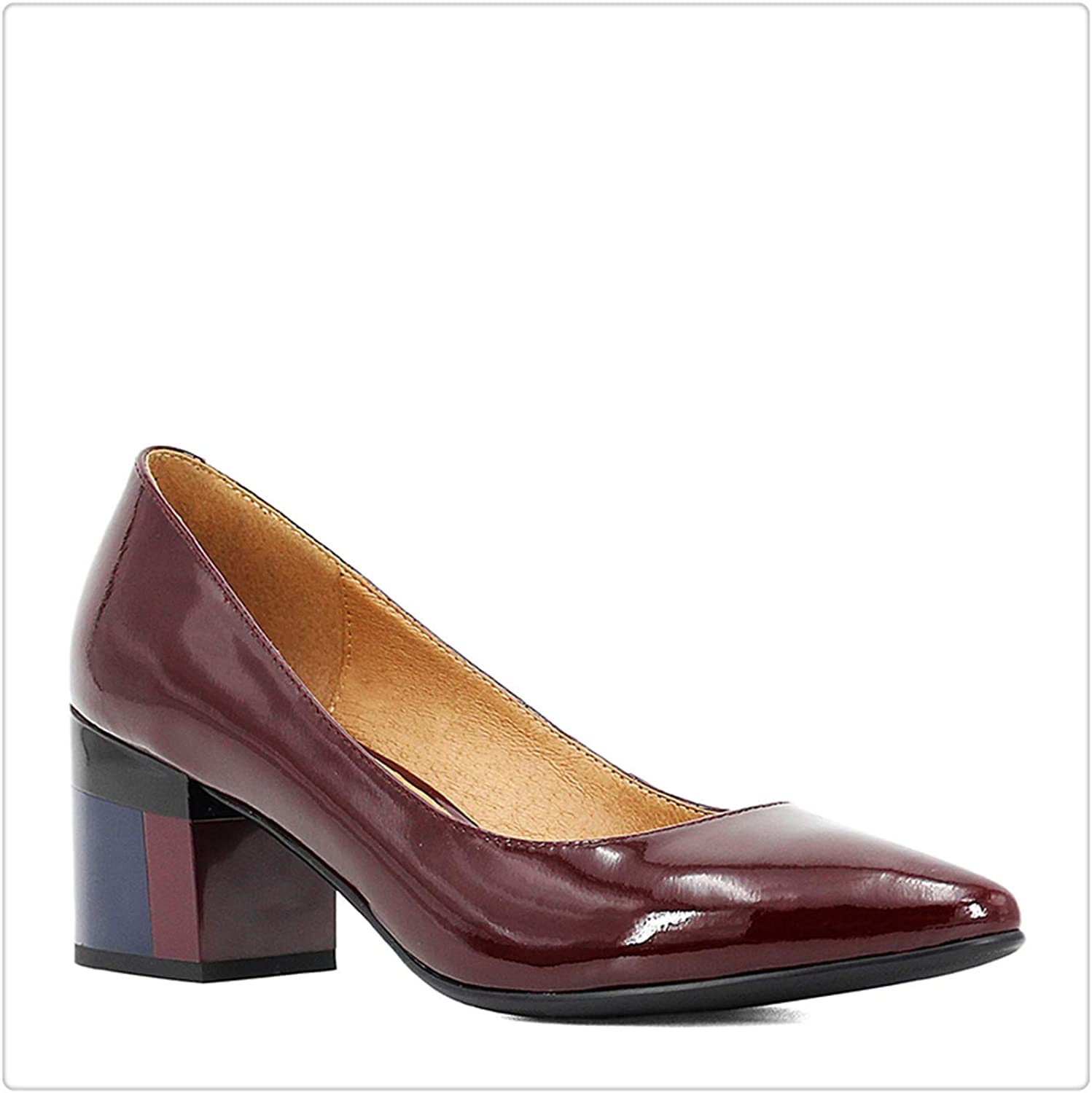 HANGGE& Thick Heel Ladies Pumps Patent Leather Pointed Toe colorful Square Heels Party