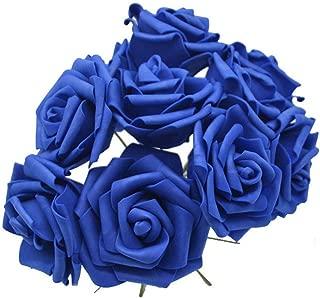 Old street 10PCS 8CM PE Foam Big Artificial Rose Flowers Wedding Bride Bouquet Wreath Rose Fake Flowers DIY Home Decorations Table Decor,F10 Royal Blue