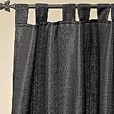 Geschenkestadl Schlaufenschal Vorhang in Schwarz glitzernd mit Silberfäden 1,40 m x 2,50 m Gardine