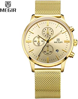 Megir Casual Watch for Men, Stainless Steel Band, Analog