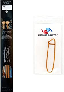 Crystal Palace Knitting Needles Bamboo Single Point 12 inch Size 6 Bundle with 1 Artsiga Crafts Stitch Holder