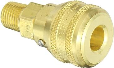 Eaton Hansen 3100LLVSL143 Brass ISO-B Interchange Pin Lock Pneumatic Fitting, Sleeve Lock Socket with Stainless Steel 303 Valve, 1/4